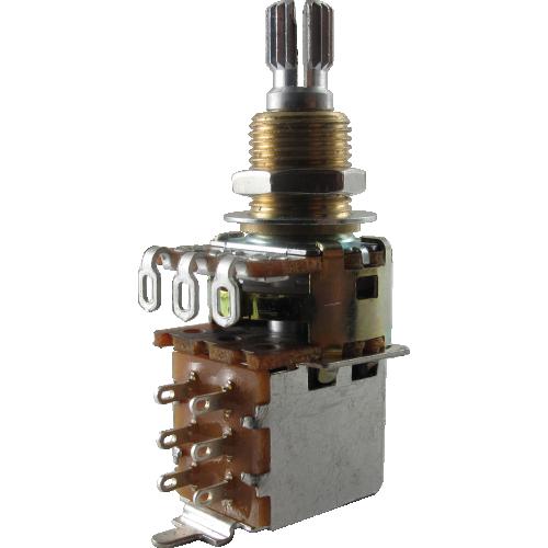 Potentiometer - Dual Mini Guitar Potentiometers with Push Pull Switch (PDB183-GTR21), Audio, Knurled Split Shaft image 1