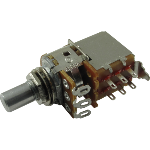 Potentiometer - Alpha, 1K Audio, DPDT Switch, Solid Shaft, 7mm Bushing image 1