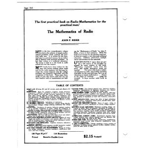 Mathematics of Radio John Rider