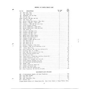 U.S. Radio & Television Corp. 24-Parts, Price list