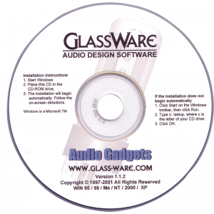 Audio Gadgets by Glassware, CD-ROM