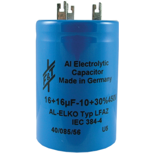 Capacitor - Electrolytic, 16/16 µF @ 450 VDC, F&T