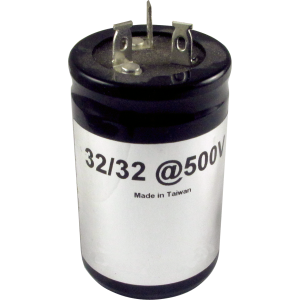 Capacitor, electrolytic, 32/32 µF @ 500 VDC