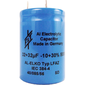 Capacitor - Electrolytic, 32/32 µF @ 500 VDC, F&T