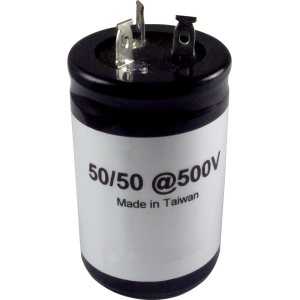 Capacitor, electrolytic, 50/50 uF @ 500 VDC