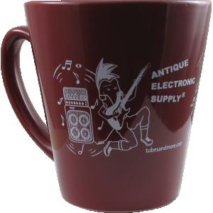 Coffee Mug, Burgundy with White AES Rocker Tube Dude, 12 oz