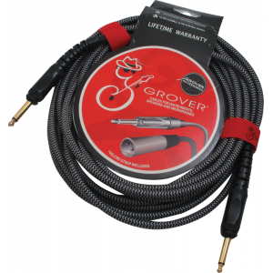 Noiseless Instrument Cable, 20' braided, gold-plated plug, Grover