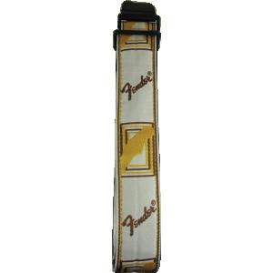 Guitar Strap - Original Fender, Monogram, 2 in., White/Brown/Yellow
