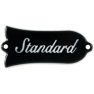 Truss rod cover, Gibson® Les Paul Standard, black with nickel screws