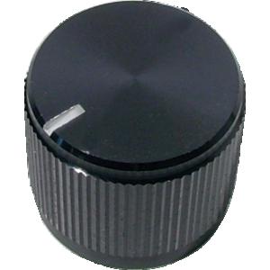 "Knob - Knurled Aluminum, Black, Notched Tip Indicator, .75"" Diameter"