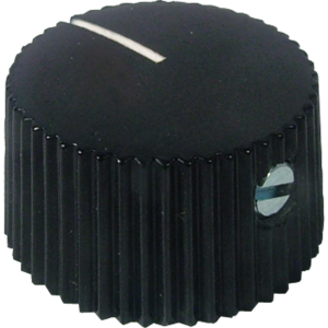 Knob, black with white line, set screw