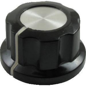 Knob - Black, White Line, Silver Top, Set Screw, 6.4mm Inset