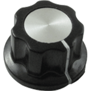 "Knob - Black with white line, Silver Top, set screw, .78""D, .44""H, 6.4mm"