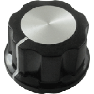 "Knob - Black with white line, Silver Top, set screw, 1""D, .59""H, 6.4mm"