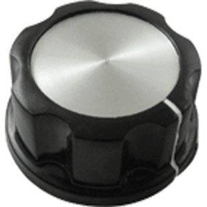 "Knob - Black with white line, Silver Top, set screw, 1.31""D, .62""H, 6.4mm"
