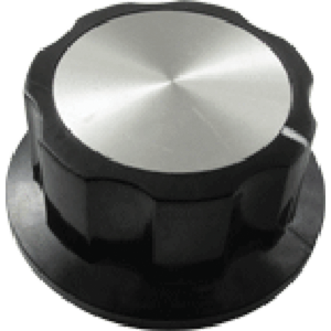 "Knob - Black with white line, Silver Top, set screw, .1.77""D, .79""H, 6.4m"