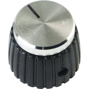 Knob - Black, Silver Top, Set Screw, Marshall Style