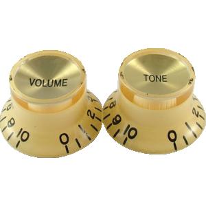 "Knob, vintage ""Top Hat"", cream with gold top (2 tone/2 volume)"