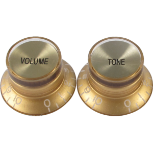 "Knob, vintage ""Top Hat"", gold with gold top (2 tone/2 volume)"