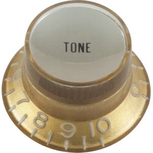 Knob - Top Hat, Gold with Silver Cap, Gibson Style