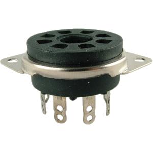 Socket - 8 Pin Octal, Saddle Plate, Black, Top Mount