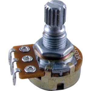 "Potentiometer - 500K Audio, 16mm, ¼"" Knurled, Push-On"