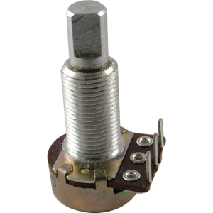 "Potentiometer - 1M Audio, 16mm, 5/8"" Bushing, FWD PC Mount, D Shaft"