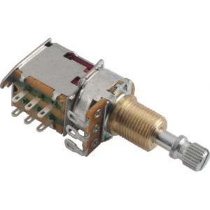 Potentiometer - 250K, Audio, Knurled Shaft, Push-Push, DPDT