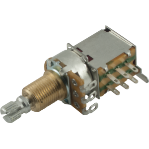 Potentiometer - 500K, Audio, Knurled Shaft, DPDT, Push-Push