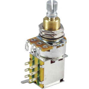 Potentiometer - 500K, Linear, Knurled Shaft, DPDT, Push-Push