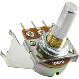 Potentiometer - 16mm, Snap-In, with Bracket, 100KL, D Shaft