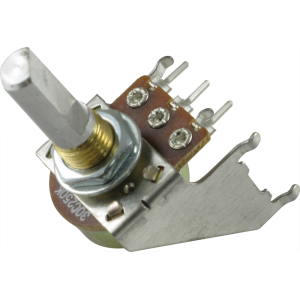 Potentiometer - 16mm, Snap-In, with Bracket, 250K Reverse Audio, D Shaft