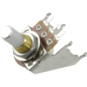 Potentiometer - 16mm, Snap-In, with Bracket, 25K Reverse Audio, Solid Shaft