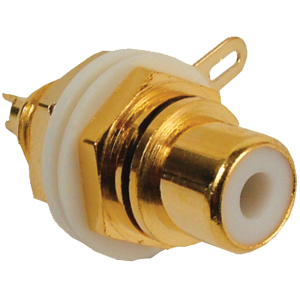 Jack - RCA Chassis Mount, Front Mount, Gold Plated, White