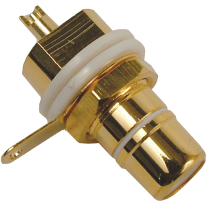 Jack - RCA Chassis Mount, Rear Mount, Gold Plated, White