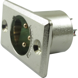 XLR 3-Pin Male Rectangular Panel Mount Receptacle (Type D3M), Switchcraft