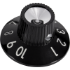 Knob - Witch Hat, Black 1-10, Skirted, Set Screw, Thin Numbers image 1