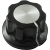 Knob - Black, White Line, Silver Top, Set Screw, 6.4mm Inset image 2