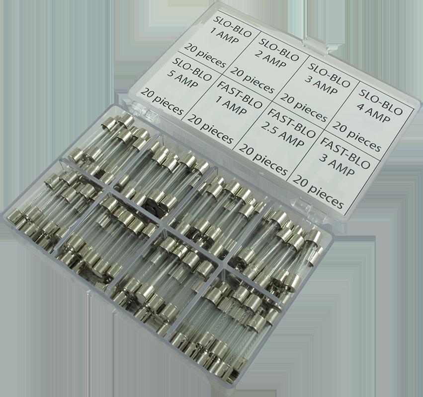 """Slow-Blow Amperage: 0.5 Amps Fuse 250V Package of 5 0.25/"""" x 1.25/"""" 3AG"""